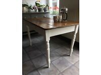 Vintage pine farmhouse table painted Annie Sloan 'Old White' legs and waxed top