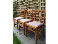 3 vintage solid wood chairs