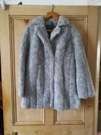 Faux fur grey ladies coat excellent condition