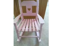 Girls pink painted rocking chair ...toddler / preschool.