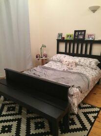 Ikea Hemnes Double Bed Frame - black/brown