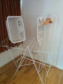 IKEA laundry set hanging rack drying rack, basket, iron board, hangers