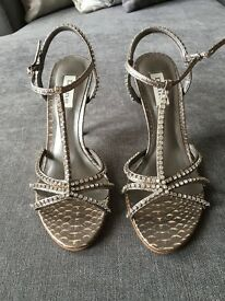 Dune silver strappy heeled sandals size 3 (36)