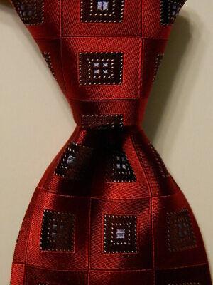 IKE BEHAR Men's 100% Silk XL Necktie USA Designer Geometric Red/Brown/Blue EUC
