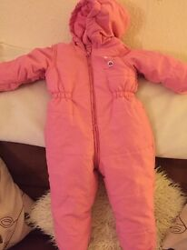 2 Baby girls coats, one pink all-in-one pink coat and coat 9-12 months