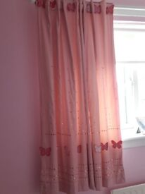 Pink lined curtains