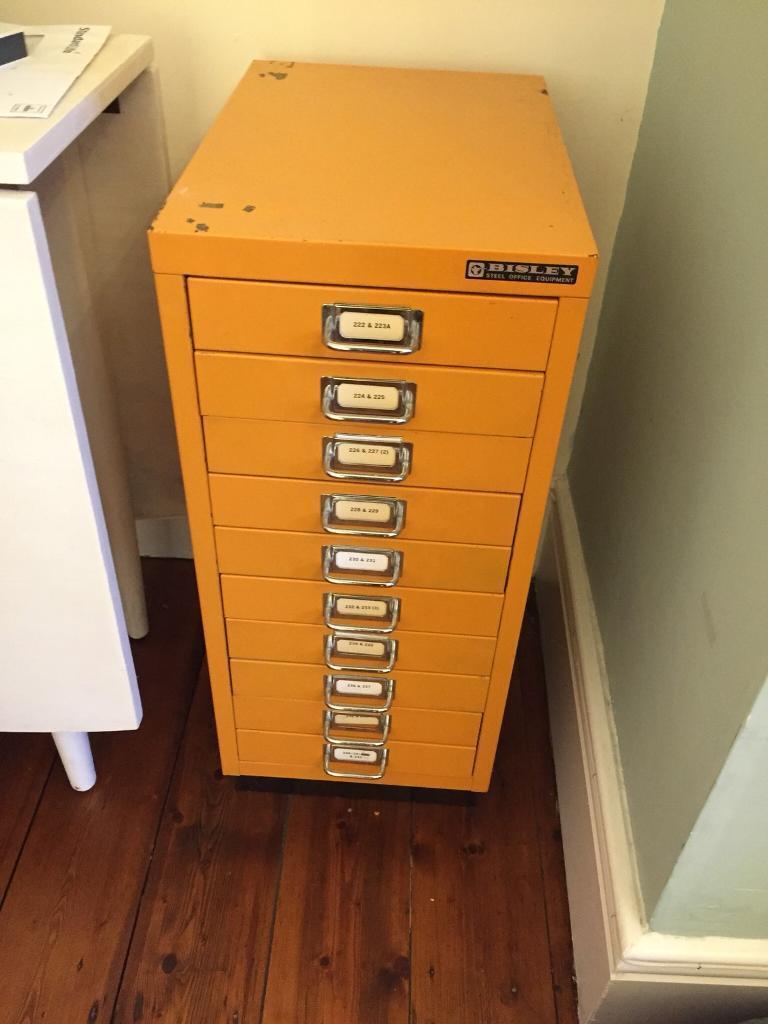 Vintage Bisley 10 Drawer Metal Steel Office Filing Cabinet