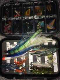 Saltwater Bass and sea trout flies in waterproof box