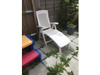 White sun lounger recliner chair