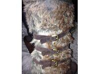 Woman's unique faux fur wedge boots size 6