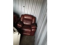 2 x brown leather recliners chairs only no sofa included in perfect condition