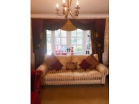 Stunning two sets of swags and tail curtains