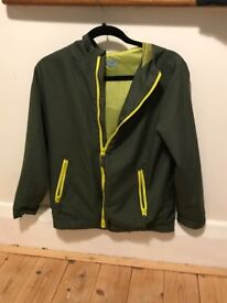 forest green and lime green light weight rain coat by f&f