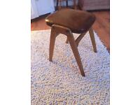 Vintage Retro Tan Leather Office/Dressing Table Stool