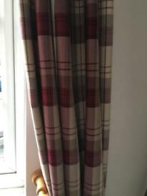 Dunelm red balmoral pencil pleat curtains and cushions