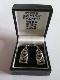 SILVER INSPIRED CHARLES RENNIE MACKINTOSH EARRINGS-BOXED UNWANTED GIFT- MINT CONDITION