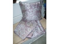 One Pair of Eyelet Curtains with Matching Cushion