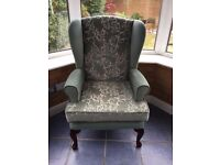 HSL Comfort Chair Wing Back Chair Armchair Green