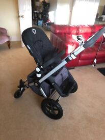 Bugaboo Cameleon pram and cot with all manuals, toddler board, rain cover, mosquito cover, adaptors