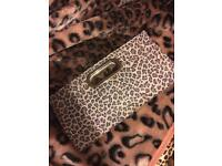 Leopard clutch bag,purse and scarves.