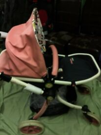 Cosatto ooba pink leatherette ,pram and pushchair almost new (front/rear facing.Car seat raincovers