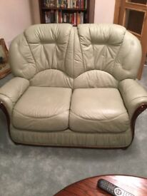 Light green two seater sofa and two arm chairs. Very good condition