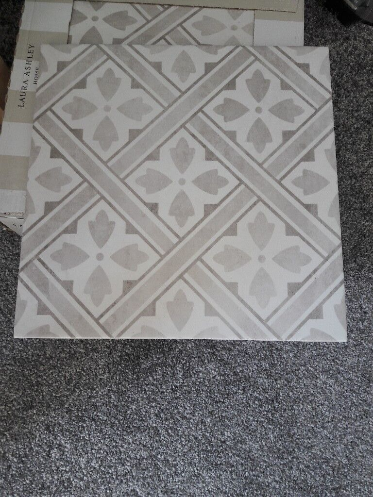 Laura Ashley Dove Grey Mr Jones Floor Tiles In
