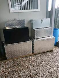 Recovery truck and transporters trailers aluminium Toolboxes for parts straps fuel etc