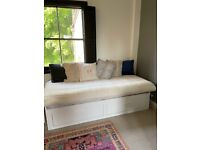 Barely used double daybed with 2 drawers and 2 mattresses included
