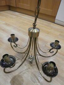 Antique Brass Effect 5 Lamp Chandelier - Excellent Condition