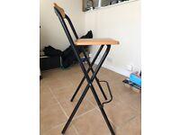 7 Folding Bar Stools Metal Frame Wooden Seats - Good condition