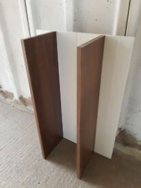 White gloss and walnut shelves