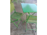 Apple Green Metal Bistro Garden/Patio table and 2 Mesh chairs