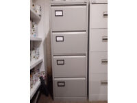 4 Drawer Grey Filing Cabinet with Files