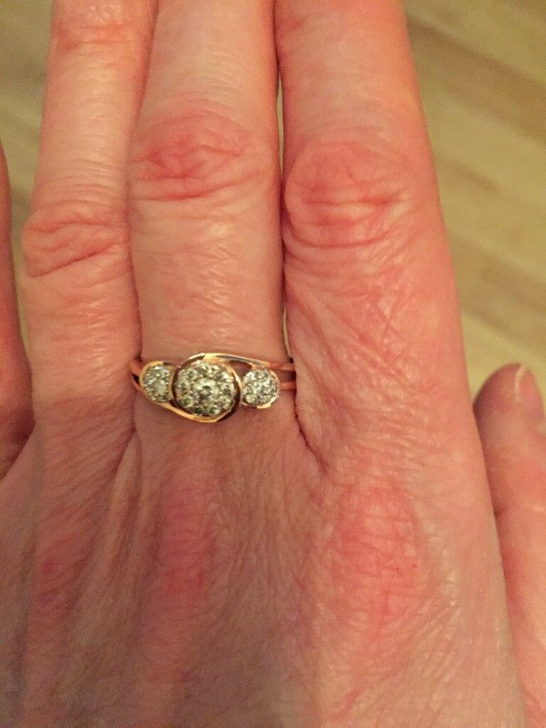 9ct Rose Gold Triple Cluster Diamond Ring Ideal As A Valentine