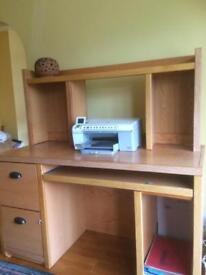 Oak computer cabinet