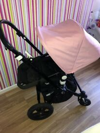 Bugaboo cameleon 2 in soft pink with full black frame full travel system