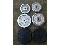 "55kg Cast Iron Barbell set 1"" standard size mostly chrome plates (dumbell, ez, bench, press)"