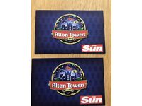 2 x Alton Towers theme park tickets. 7th September 2018. Friday 7th Sept. 07/09/2018