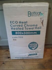 Brand New (unopened) Curved Heated Towel Rail, 800 x 500 mm.