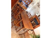 Solid Teak Dining Set, Table, 6 Chairs, 2 Carvers