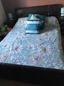 King size leather bed frame and mattess