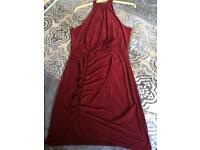 Red/burgundy boohoo silk dress