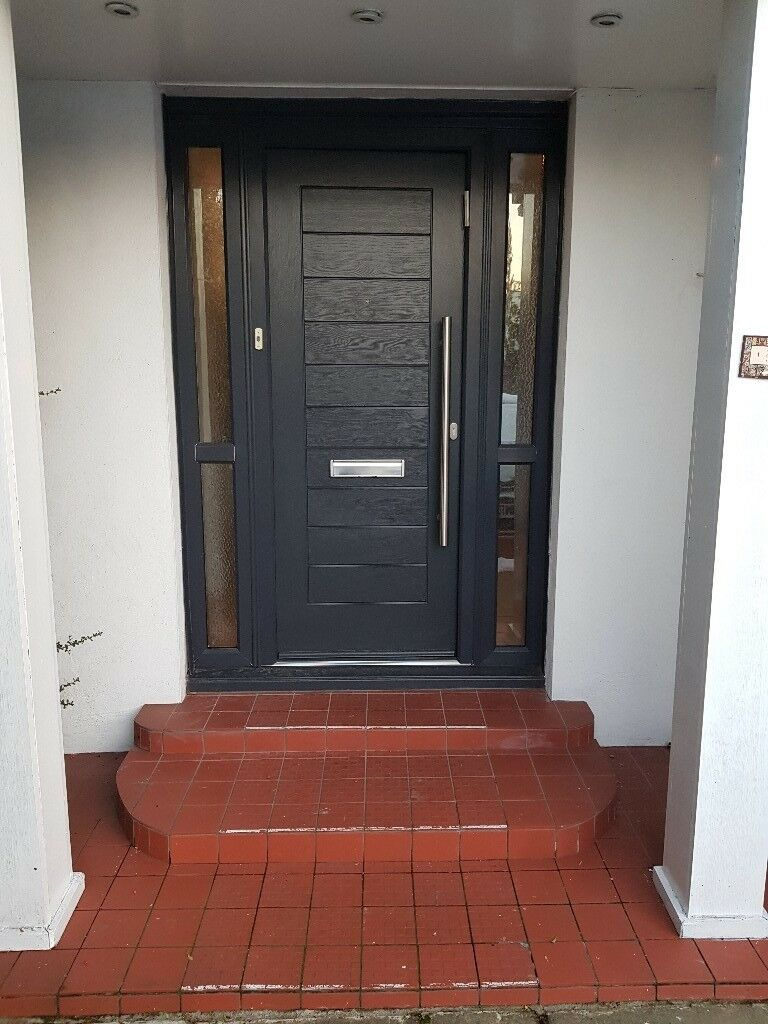 Composite External Front Door Anthracite Grey And White Great