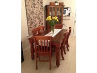 Solid Hardwood country farmhouse style dining table and chairs