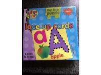 Educational toy :- threading cards, alphabet flash card, slide and learn card packs