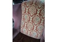 Wing Back Armchair Dusky Rose Pink with Pattern and Wooden Feet Very Good Condition