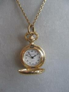 EXQUISITE VINTAGE BRILLIANT GOLDTONE CHAIN-LINK WATCH PENDANT