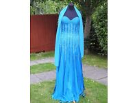 YVE London UK 8-10 Handmade Blue Occasion Formal Prom Holiday Dress With Shawl