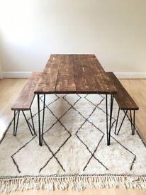 dining table wood rustic industrial handmade in UK London